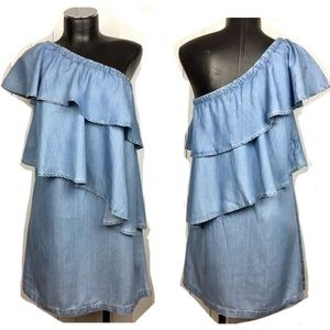 Chelsea28 Blue Chambray Ruffle One Shoulder Dress